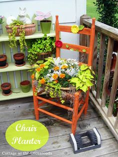 Totally Free Project-A Chair Planter - Unique DIY Garden Planters - Rattan Dining Chairs, Old Chairs, Outdoor Chairs, Outdoor Decor, Ikea Chairs, Outdoor Cafe, Cafe Chairs, Adirondack Chairs, Lounge Chairs