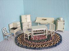 Vintage Metal Dollhouse Furniture - Tootsie Toy Kitchen in White - 8 Pieces in Half Scale