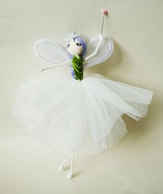 Helena is a shiny bright little fairy. She measures approximately 10 inches tall from the top of her lilac head to the tips of her toes. Helenas lovely silver wings highlight her green velvet bodice and tulle skirt beautifully. In addition to her pale pink pearlised heart topped
