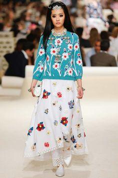 Chanel Resort 2015 Ji Young Kwak #fashion, #design, #fashion design, #chanel, #chanel 2015, #fashion accessories, #fashion trends, #aqua, #colors, #floral, #patterns, #textile, #trends