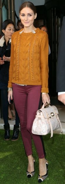 designer bags and dirty diapers: new favorite fall color combo= orange and burgundy.  Love it.