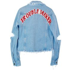 TROUBLE MAKER DENIM JACKET (3,880 THB) ❤ liked on Polyvore featuring outerwear, jackets, blue denim jacket, jean jacket, denim jacket, blue jackets and distressed jacket