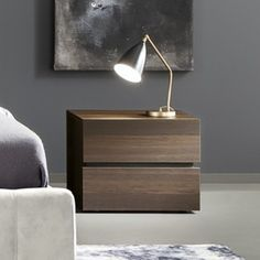 The striking and storage-savvy Rossetto Gola 2 Drawer Nightstand is a handsome bedside companion. This nightstand features two soft-close drawers and. Bedroom Furniture Design, Modern Bedroom Design, Home Decor Furniture, Room Decor Bedroom, Bed Design, Bedside Table Decor, Bedside Table Design, Nightstand, Tyni House