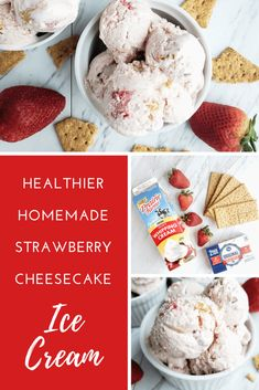This homemade strawberry cheesecake ice cream recipe is made with an ice cream maker. It uses whole ingredients and no refined sugar. This is the perfect make at home strawberry ice cream recipe for summer. Lemon Raspberry Cheesecake, Caramel Apple Cheesecake Bars, Cheesecake Ice Cream, Banana Ice Cream Healthy, Homemade Strawberry Ice Cream, Homemade Ice Cream, Healthy Dessert Recipes, Desserts, Ice Cream Cookies