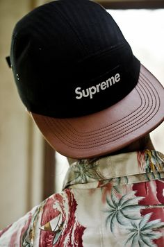 Supreme 5 panel with brown leather brim! // Indie Clothing Brands & UK…