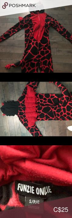 Shop Kids' Funzie Onzie Red Black size Woman's small Costumes at a discounted price at Poshmark. Description: Red and black kids dragon onesie.