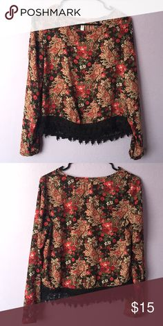 Red and Black Floral with Lace Fringe Shirt Floral long sleeve shirt with lace detail on the bottom Xhilaration Tops Blouses