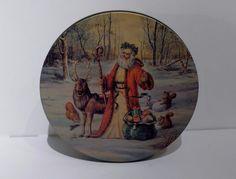 Vintage Tin Christmas Cookie Biscuit Tin Father Christmas Santa Claus Reindeer