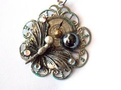 """Steampunk Necklace with Butterfly """"Midnight Garden"""" by TimeMachineJewelry"""
