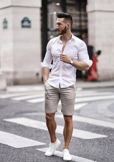 31 Trendy Summer Men Outfit with Short Pant - Mode man - Summer Outfits Men, Outfits Casual, Mode Outfits, Short Outfits, Summer Men, Men Summer Style, Summer Pants, Summer Clothes, Stylish Men