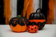 Learn how to upcycle old doilies, lace stockings and crochet items to make inexpensive Halloween decor.