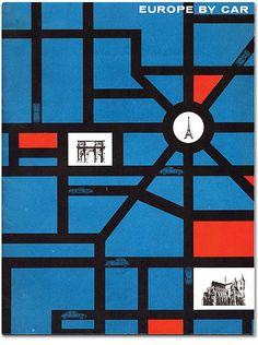 Europe by Car Plan  Routes en noir  espaces : rouge ou bleu  monuments sur fond blanc  petites voitures sur routes pour indiquer que ce sont effectivement des routes