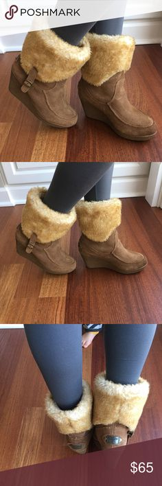 Bearpaw tan suede wedge Boots Bearpaw Wedge Boots- worn twice, no flaws, tan leather suede, fur fully lined, 3.5' heels, 1' platform, size 8. BearPaw Shoes Wedges