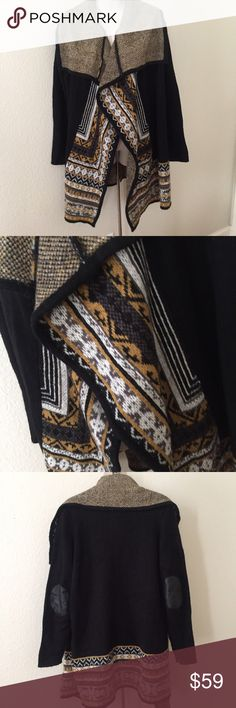 Kensie Tribal Oversized Cardigan Sweater M/L This is a gorgeous Kensie oversized kimono style Cardigan. Made of acrylic and nylon. Super soft and warm. Size medium/large. Colors are black,white,mustard yellow and grey. Great condition. Kensie Sweaters Cardigans