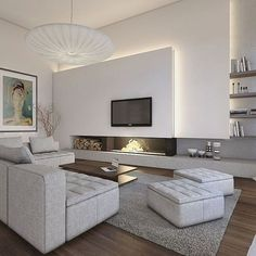 Nadire Atas on Home Style Decor Living Room Kitchen, Home Living Room, Living Room Decor, Home Room Design, Living Room Designs, House Design, Modern Fireplace, Fireplace Design, Living Room Contemporary