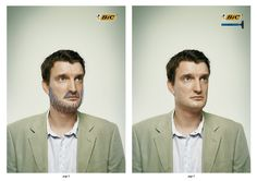 Bic + Bicshave. Two consecutive pages print ads