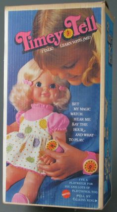 MATTEL: 1969 TIMEY TELL Time Telling Talking Doll, I got this for Christmas and I still have it put away.