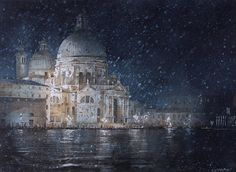 Geoffrey Wynne RI, Winter in Venice Last Vaporetto Exhibited at the Royal Institute of Painters in Water Colours Annual Exhibition 2015