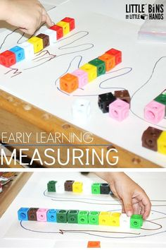 Preschool Math Measuring Activity Using Unifix Cubes, DUPLO or LEGO. Help children simply and easily understand measuring concepts with these preschool aged activities. What you need to know to help young children in lower elementary, kindergarten and preschool better understand measuring concepts. Hands on learning for measuring concepts.  #PreschoolActivities #MeasuringConcepts #HandsOnLearning Geometry Activities, Math Activities For Kids, Preschool Activities, Hands On Learning, Learning Through Play, Early Learning, Measurement Activities, Gross Motor Skills, Math Concepts
