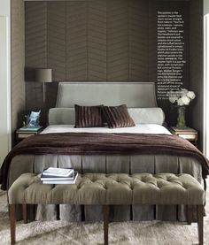 House Beautiful April 2013 taupe bedroom