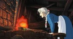"""This is from the animated film """"Howl's Moving Castle"""" by Hayao Miyazaki. The characters are a bit more simple than the backgrounds, which are very detailed. I think that allows the characters to stand out much more. Hayao Miyazaki, Howl's Moving Castle Movie, Howls Moving Castle, Film Animation Japonais, Animation Film, Studio Ghibli Art, Studio Ghibli Movies, Howl Et Sophie, Dreamworks"""