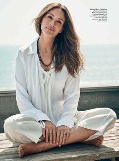 Easy does it. Julia Roberts in Michael Kors Collection blouse, Instyle, June 2016, US.
