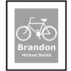 Personalized Bicycle Print  8 x 10  Customized With by Tessyla, $20.00