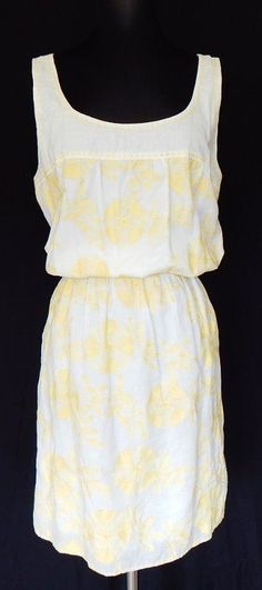STUDIO M Max White Cotton Yellow Embroidered Floral Blouson Tank Dress Summer XL - $39.99  #StudioM #Sundress #Casual
