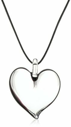 "Yummi Glass Murano Glass Black-Color Mini Heart Pendant Necklace Yummi Glass. $63.75. Made in Italy. Strung at 16"". Black outline mini heart necklace. Hand-made Murano glass necklace on matching gold leather cord and a sterling toggle"