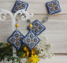 Beaded Boho Necklace and Earrings hand embroidered jewelry BlueYellow by…