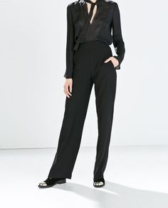ZARA - WOMAN - HIGH-WAISTED WIDE TROUSERS