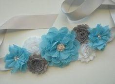 Beautiful Chiffon Flower Maternity Sash Belt - Pregnancy Photo Prop - It's A Boy - Turquoise Gray White - Baby Shower