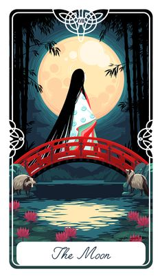"""Poster+size++12""""+x++16""""  The+Moon+for+The+Fairytale+Tarot+deck.+ This+is+the+story+of+Kaguya+Hime.+An+indecisive+future,+and+a+truth+withheld.+Two+Tanuki+watch+over."""