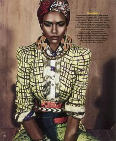 African High Fashion: High fashion meets the pattern eccentrics in us halfway, with this magnificent shoot with an african/tribal theme. Beautiful woman Flawless!  #AfricanFashionista #Hagereseb