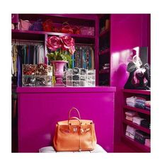 Closet envy! Love this design by @laclosetdesign #closet #envy #iwant #hotpink #owningwell #doneanddonehome Reposted Via @doneanddonehome