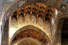 The Cathedral of Monreale: Byzantine mosaics and an elaborate Islamic-style wooden roof.