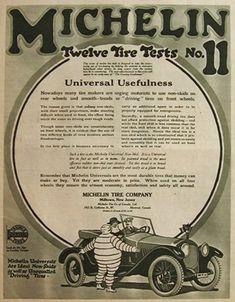 1918 Michelin Tires Ad ~ Tire Test No. 11