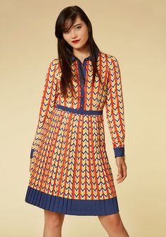 Just My Typist Dress by ModCloth - Orange, Blue, Print, Geometric, Work, Vintage Inspired, 70s, A-line, Shirt Dress, Long Sleeve,…