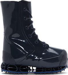 Raf Simons - Slate Blue Bunny Bounce Platform Runway Boots