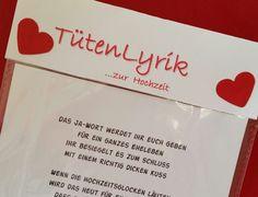 Gedichte - Tütenlyrik....zur Hochzeit - ein Designerstück von textatelier bei DaWanda