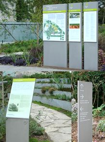 Garden Interpretive Kiosk Design, Signage Design, Architectural Signage, Donor Wall, Environmental Graphic Design, Directional Signs, Rain Garden, Wayfinding Signage, Design System