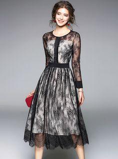 Shop Black Lace Perspective High Waist Skater Dress at EZPOPSY. Women's Dresses, Dresses Online, Dress Outfits, Casual Dresses, Fashion Dresses, Formal Dresses, Skater Dresses, Party Dresses, Sleeveless Dresses