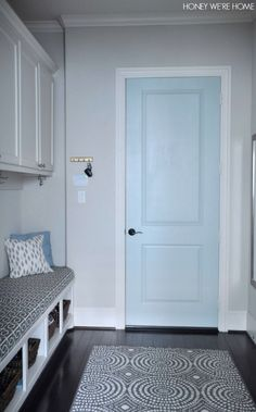 Mudroom with painted door- Comfort Gray by Sherwin Williams Painted Pantry Doors, Painted Interior Doors, Black Interior Doors, Painted Doors, Sherwin Williams Comfort Gray, Light Grey Walls, Light Blue, Gray Walls, Indoor Paint