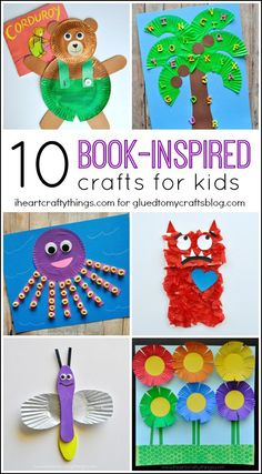 Keep toddlers and preschoolers busy with these Book Inspired Kid Crafts. It's fun to read the stories with them then create art projects related to the story. Great practice for cutting and gluing Kindergarten Crafts, Preschool Crafts, Kid Crafts, Preschool Books, Kindergarten Art Projects, Preschool Printables, Easy Crafts, Art Books For Kids, Art For Kids