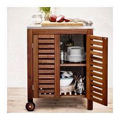 ÄPPLARÖ / KLASEN Storage cabinet, outdoor, brown stained, stainless steel color - brown stained/stainless steel color - IKEA