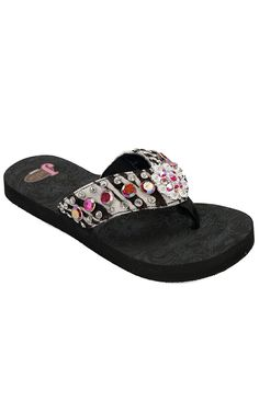 Justin® Sandra™ Women's Black Zebra Print w/ Muticolor Jeweled Flip-Flop