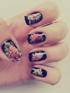 Floral nail art, love <3 i'm a sucker for floral designs over black.