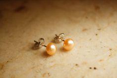 Peach Fresh Water Pearl Earrings by kitsunegao on Etsy, $10.00