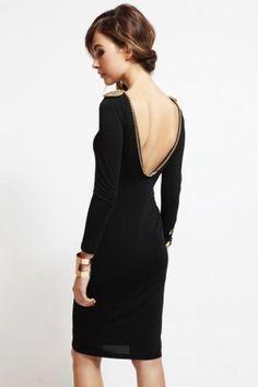 vestido corto de fiesta negro con cadena para boda y nochevieja