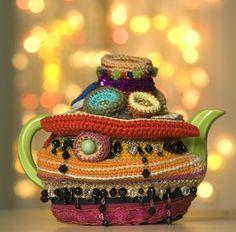 crochet té servidor Exotic and Common combinado en Crochet artista Karin Creaciones Kempfs